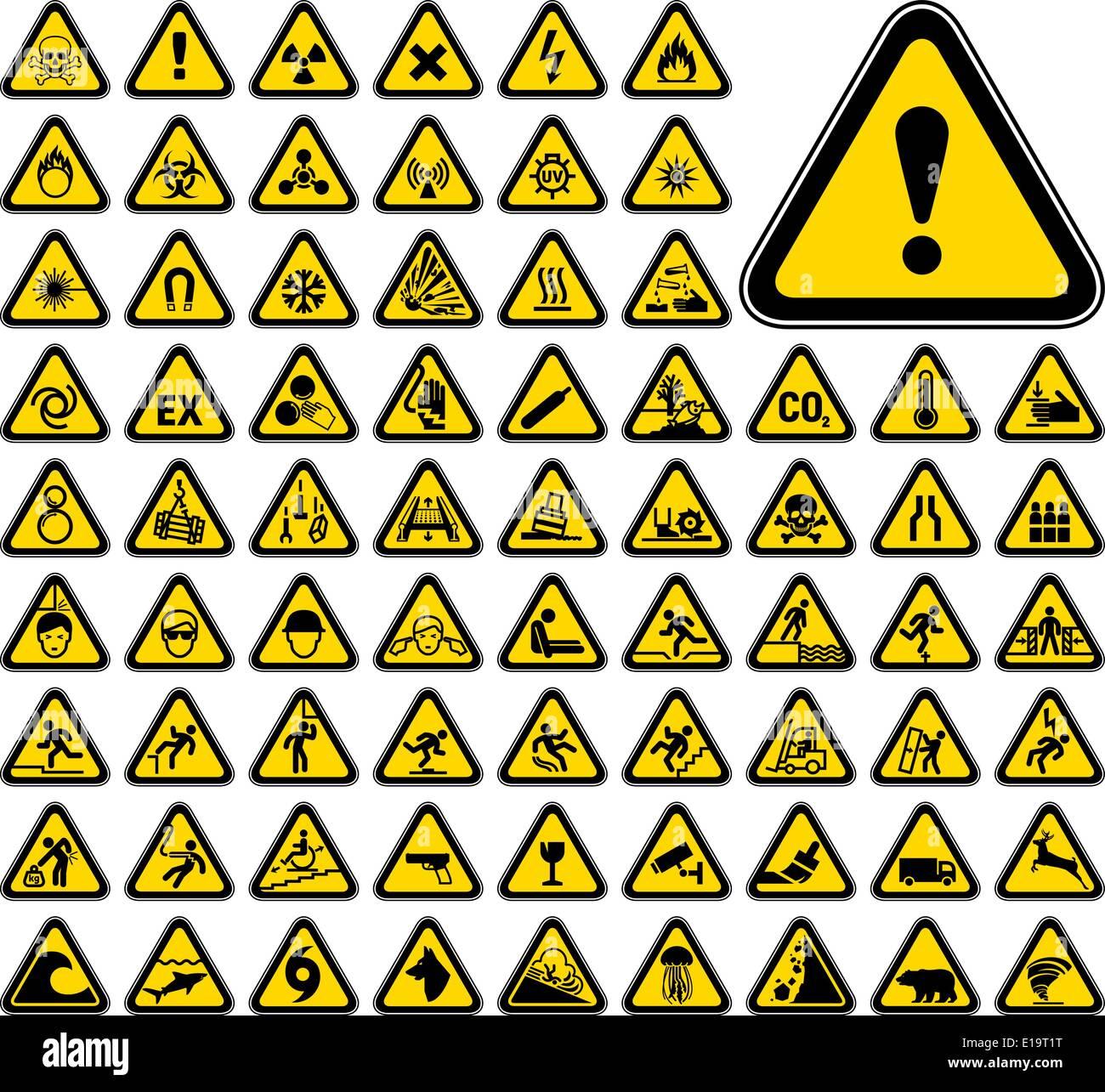 72 triangular warning hazard symbols stock vector art illustration