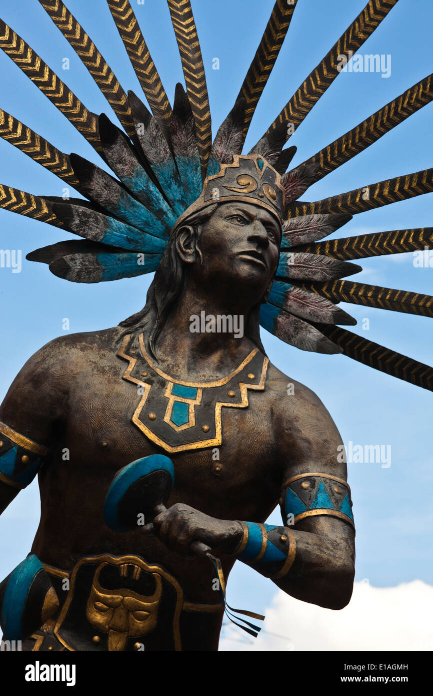 Statue of an OTAMI SOLDIER in the historical center of the city of QUERETARO - MEXICO - Stock Image