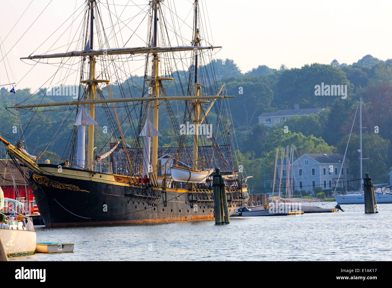 Low Angle View of the Joseph Conrad Fully Rigged Tall Ship, MysticSeaport Maritime Museum, Mystic, Connecticut - Stock Image