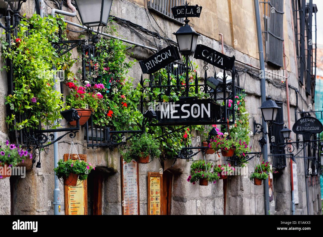 Entrance Signs of Tapas Restaurant, Mesón Rincón de la Cavas, Madrid, Spain. - Stock Image