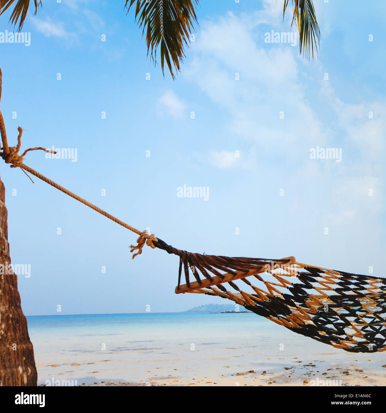 relaxation on beautiful tropical beach, vacations - Stock Image