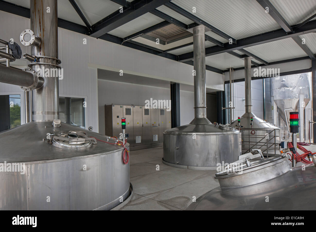 Brew kettles at Brouwerij Boon, Belgian brewery at Lembeek near Brussels, producer of geuze and kriek beer - Stock Image