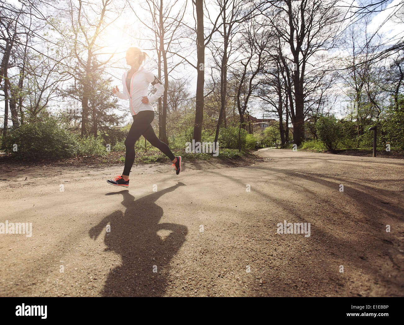 Healthy young woman jogging in park. Fitness female model running in forest. Caucasian fitness model exercising - Stock Image