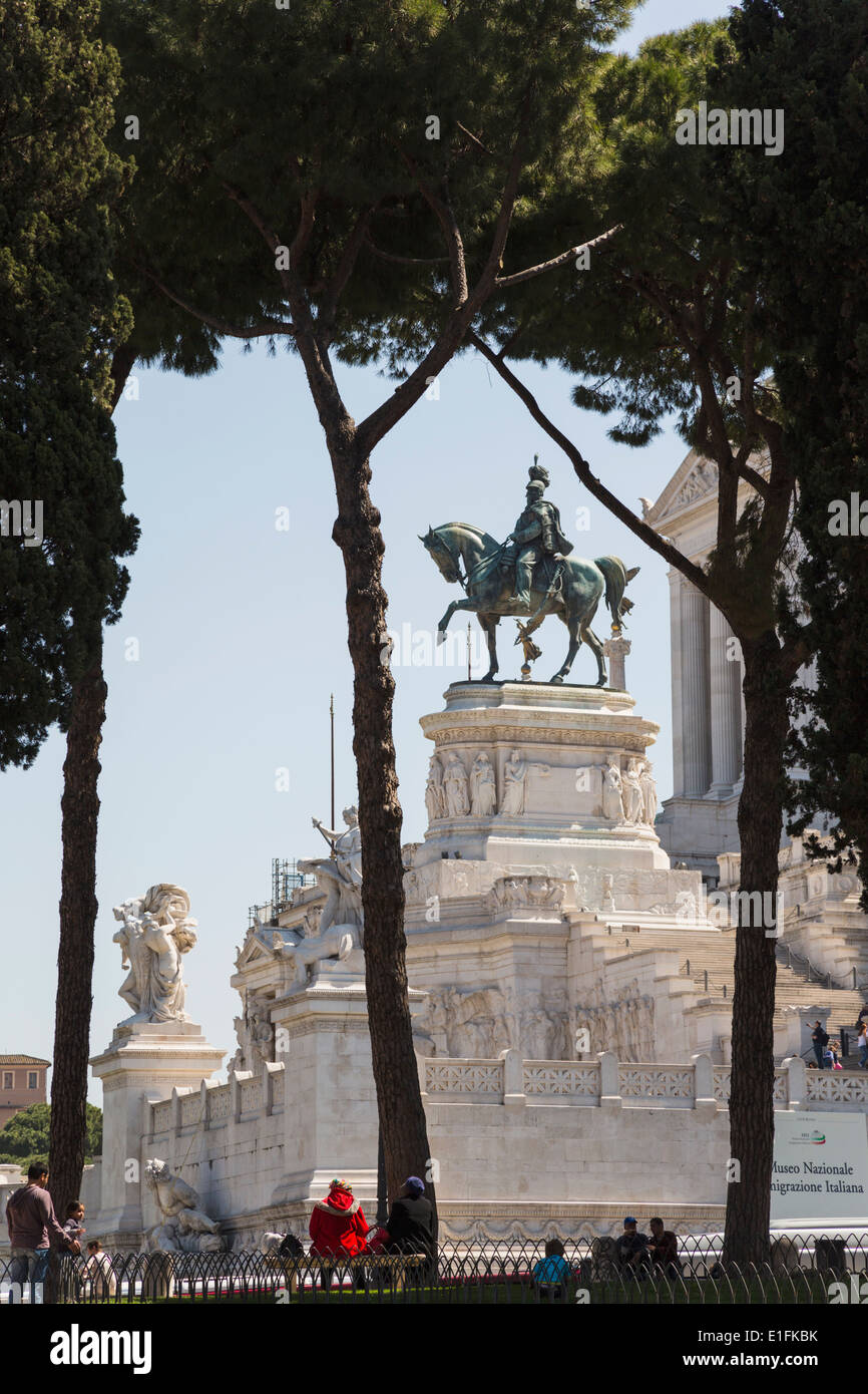 Rome, Italy. Monument to Vittorio Emanuele II, also known as the Vittoriano. Equestrian statue of Vittorio Emanuele - Stock Image