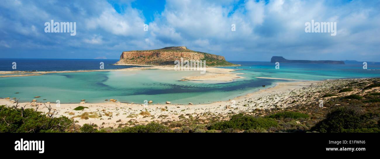 Greece, Crete Island, Chania, Gramvousa, Balos bay and Gramvousa island - Stock Image