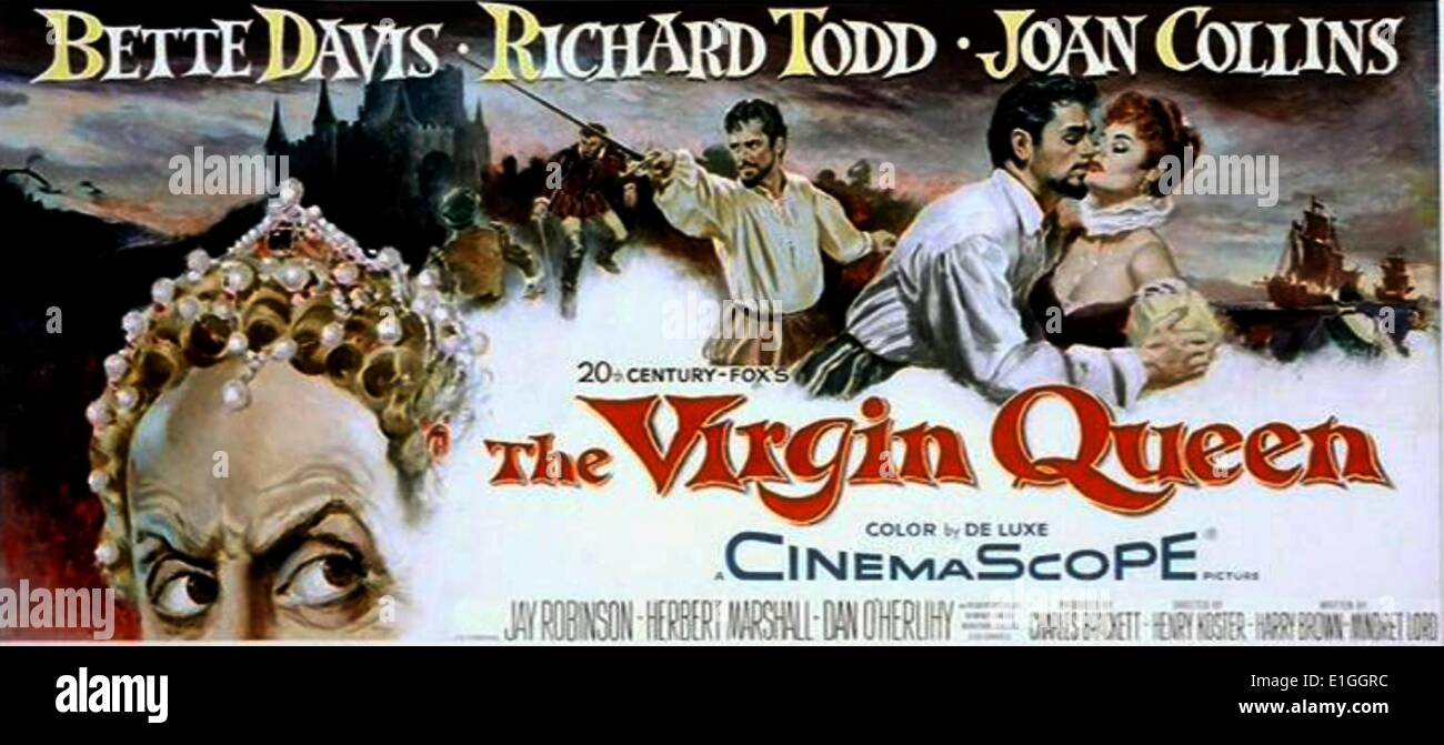 'The Virgin Queen' a 1955 historical drama film starring Bette Davis, Richard Todd and Joan Collins. - Stock Image