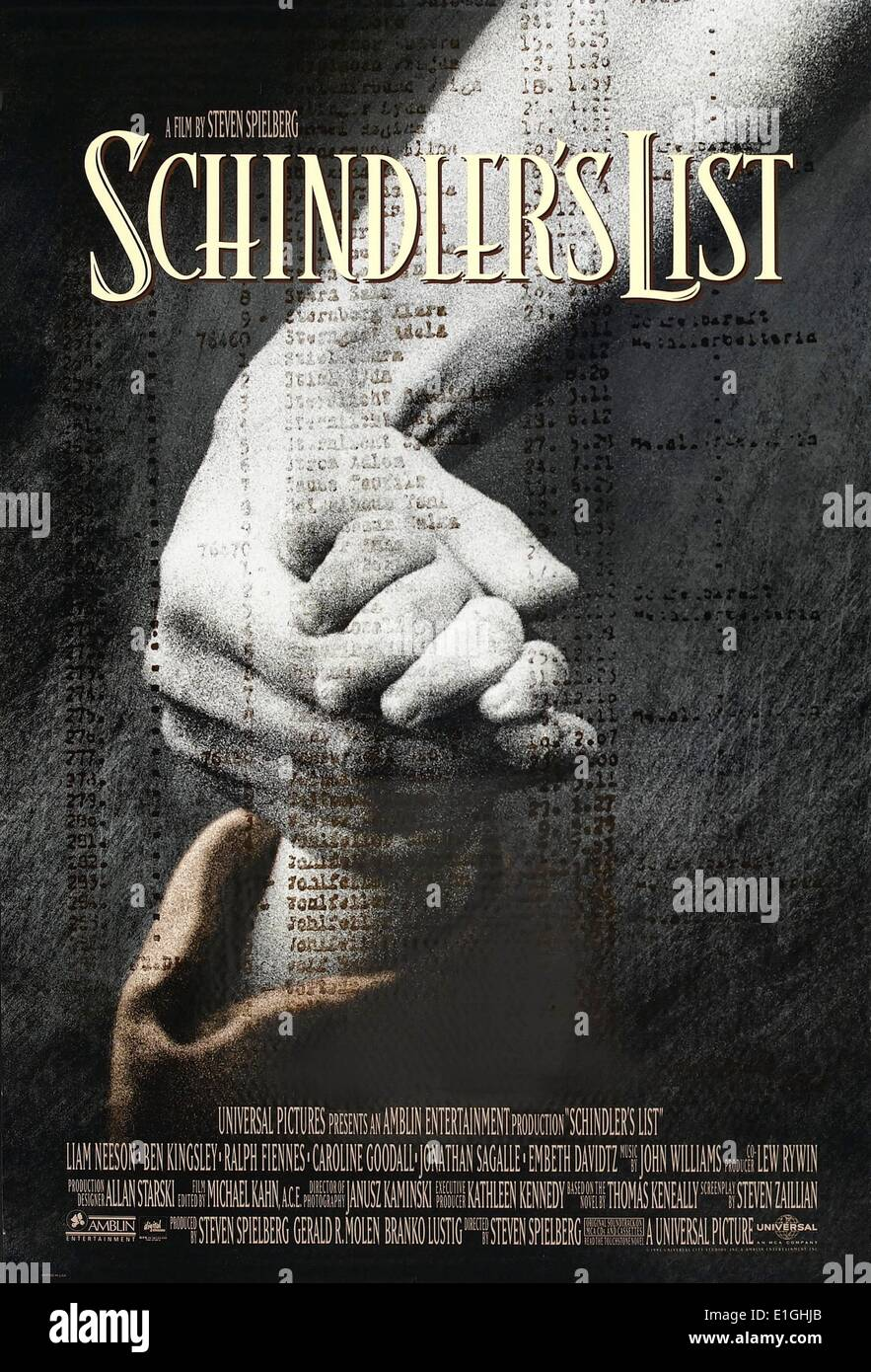 'Schindler's List' a 1993 American epic historical drama film, winner of 7 Oscars including Best Picture, - Stock Image