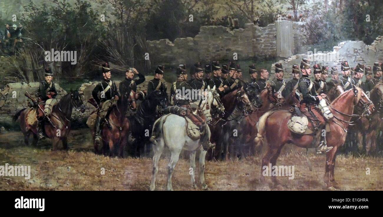 The Battle of Rezonville painted by the artists Detaille and DeNeuville in 1883. - Stock Image