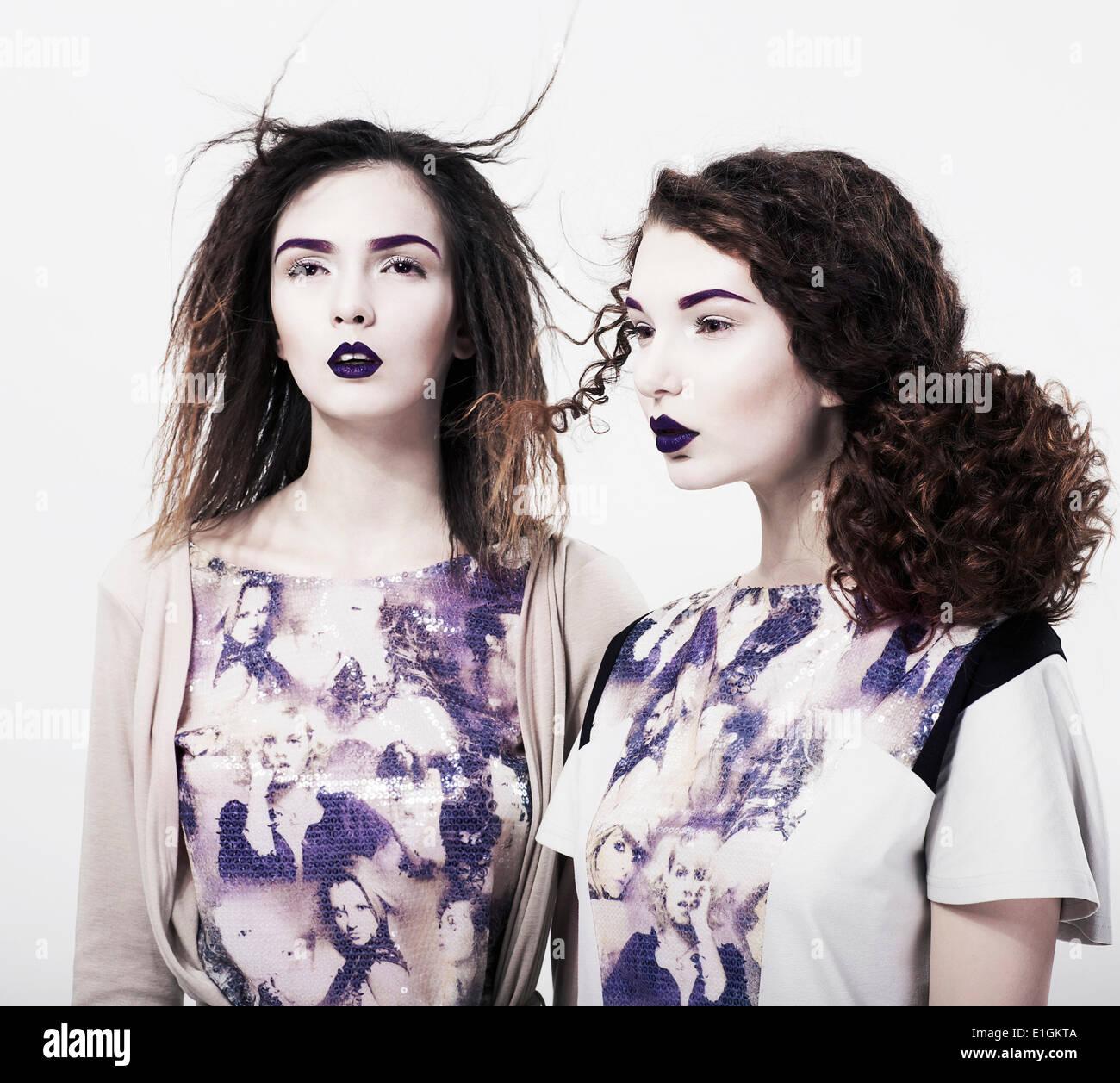 Individuality. Emo. Glamorous Modern Women. Trendy Brightly Makeup - Stock Image