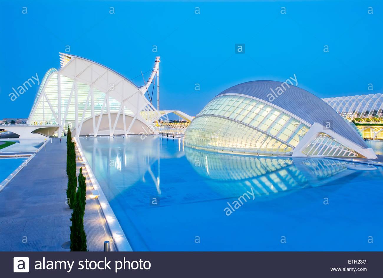 Dusk at City of Arts and Sciences, Valencia, Spain - Stock Image