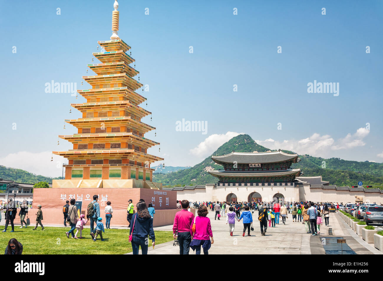 A golden pavilion is erected outside Gyeongbokgung Palace in Seoul, South Korea, ahead of celebrations for Buddha's - Stock Image