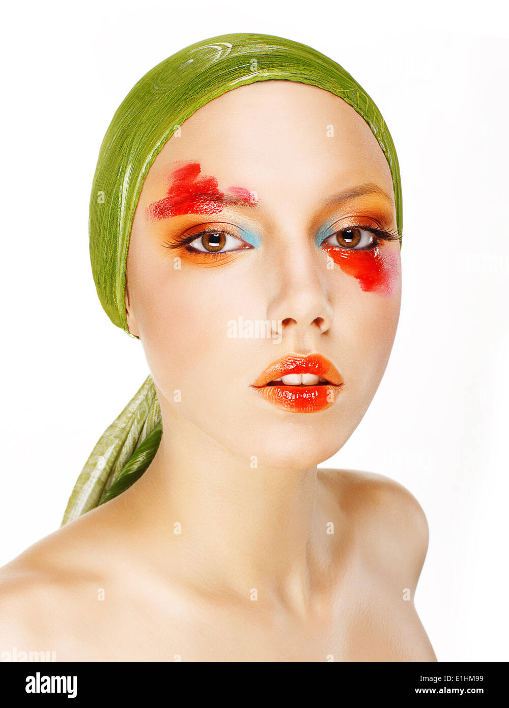 Fantasy. Glamor. Fashion Model in Green Shawl and Colorful Makeup - Stock Image