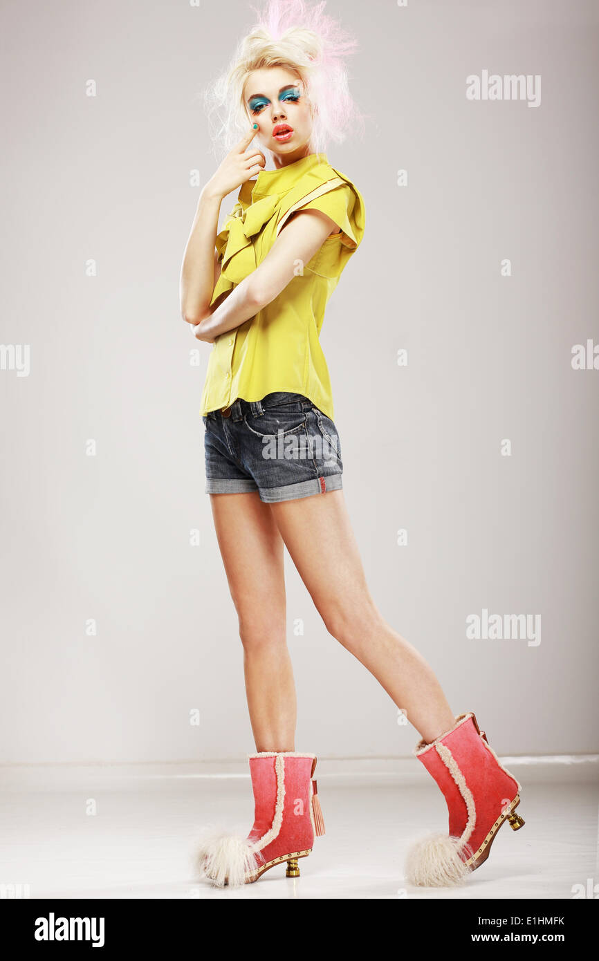 Stylishness. Ultramodern Fashion Model in Trendy Clothes. Individuality - Stock Image