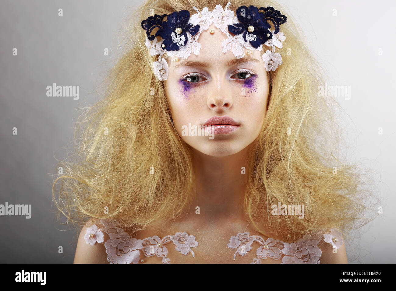 Fantasy. Portrait of Bright Blond with Unusual Makeup. Creativity - Stock Image