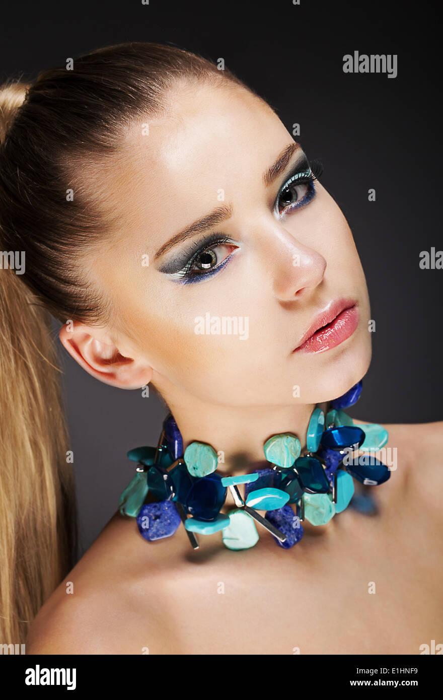 Glamor. Romantic Elegant Girl with Accessories. Gemstones Beads - Stock Image