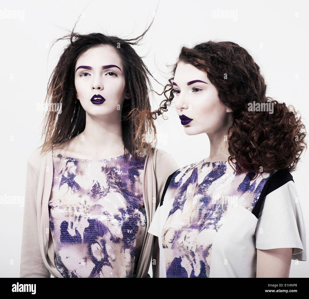 Individuality. Emo. Two Glamorous Modern Women. Trendy Brightly Makeup - Stock Image