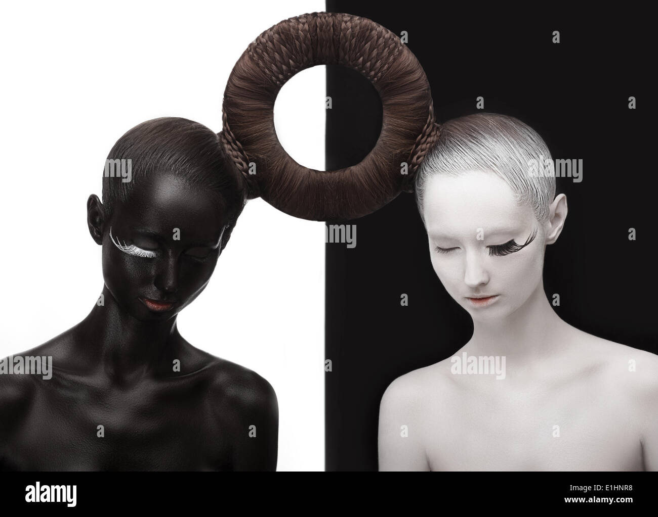 Zen. Yin and Yang. Silhouette of Two People. Black & White Symbol. Creative Orient Concept - Stock Image
