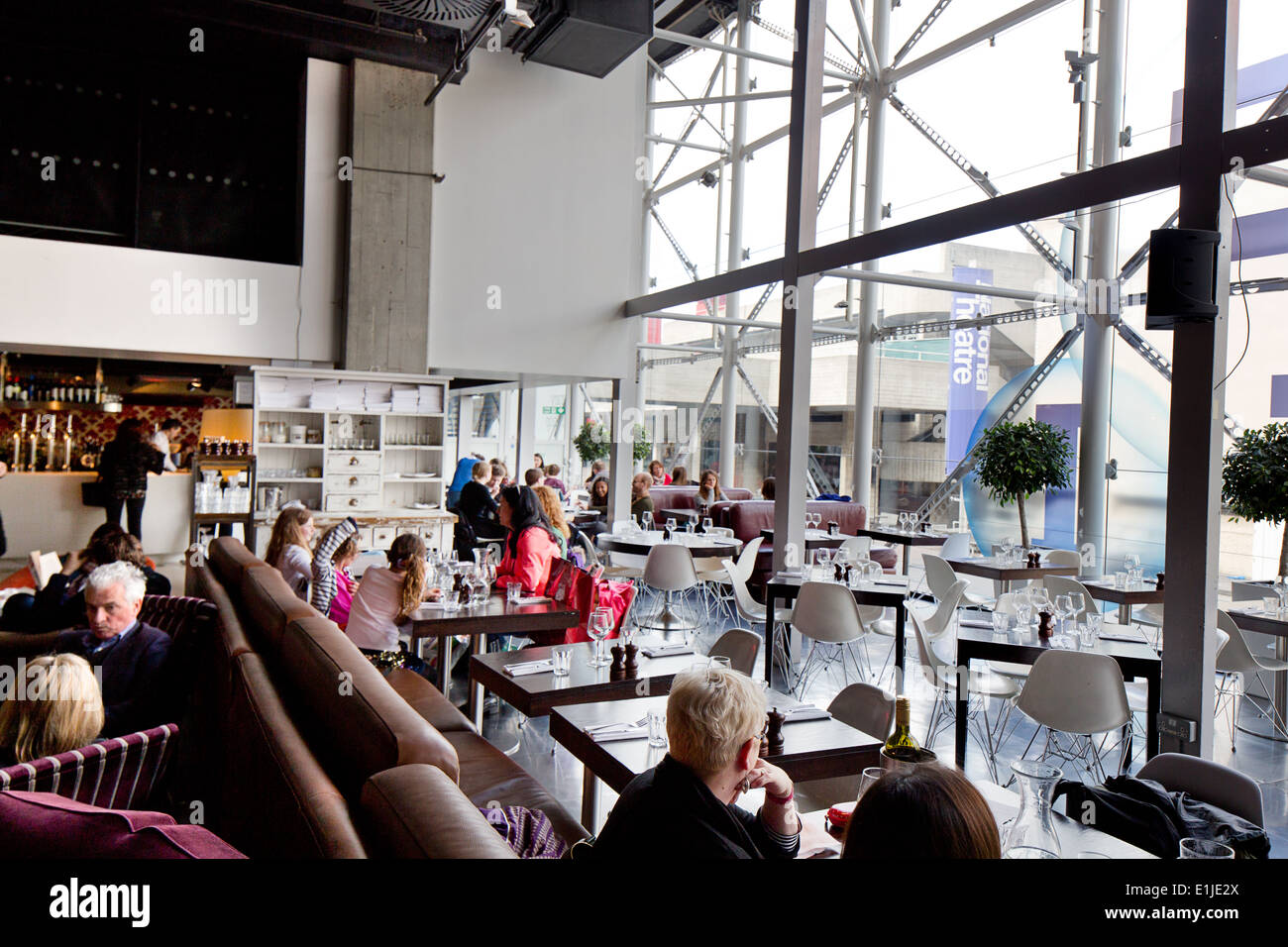 The restaurant in the British Film Institute, South Bank, London. - Stock Image
