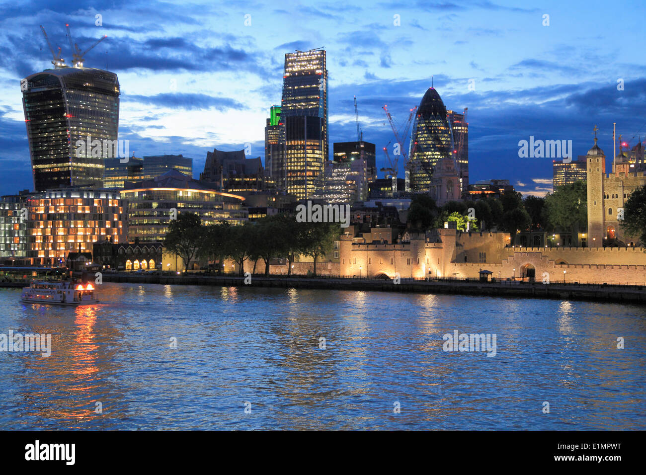 UK, England, London, City, skyline, skyscrapers, The Tower, - Stock Image