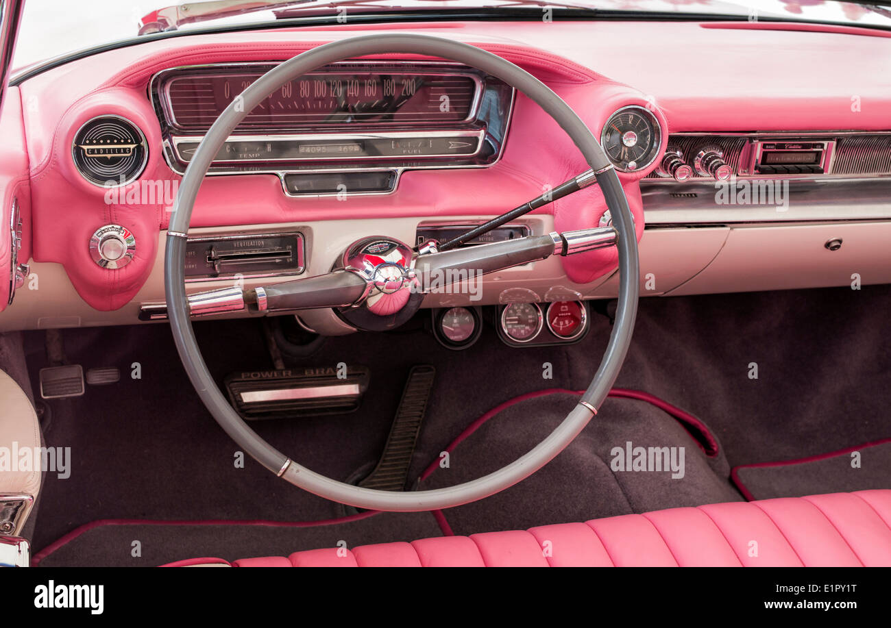 1959 Pink Cadillac Convertible Steering Wheel And Dashboard Stock