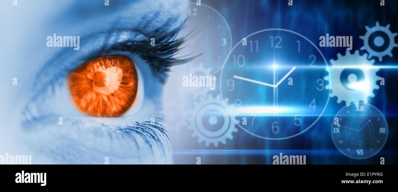 Composite image of orange eye on blue face - Stock Image