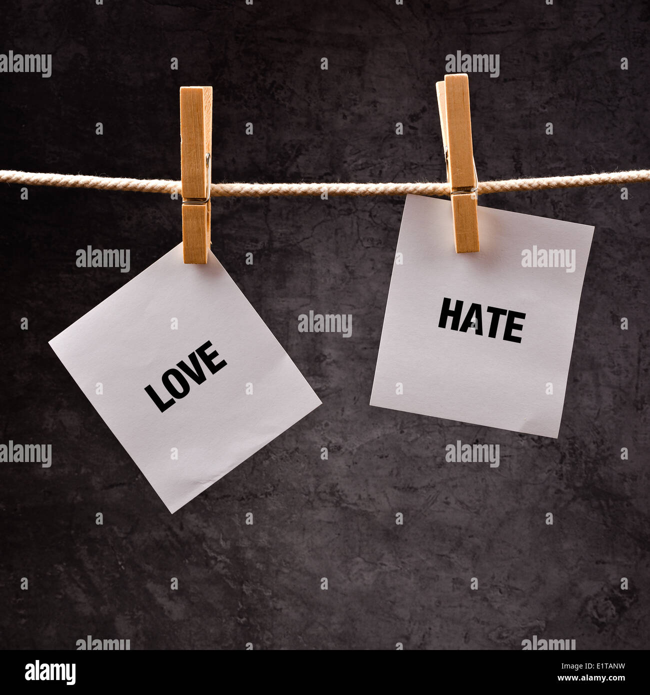 Love or hate conceptual image. Choose between loving and hating, words printed on hote paper attached to clothesline. - Stock Image