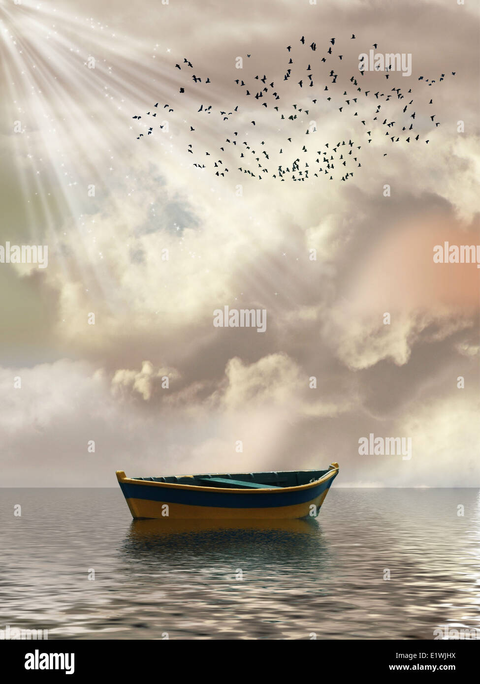 Fantasy Landscape in the ocean with boat and birds - Stock Image