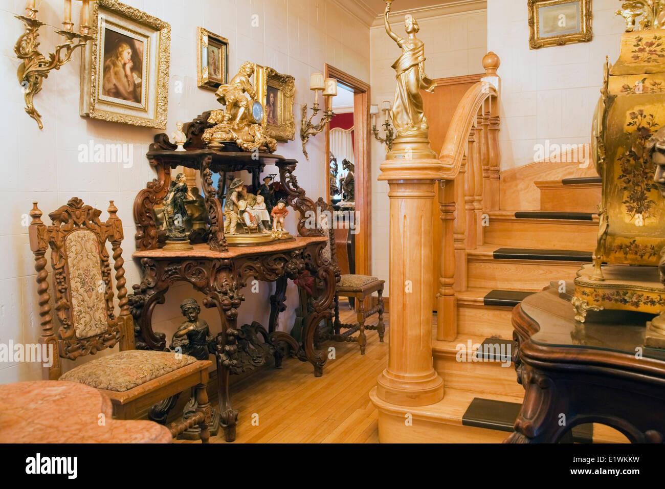Antique Furniture Furnishings Adorn A Hallway Inside A Victorian Mansion  Quebec Canada. This Image Is Property Released. PR0103