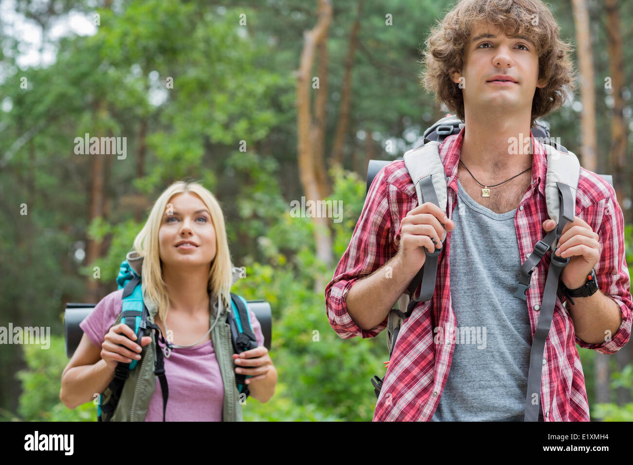 Young hiking couple looking away in forest - Stock Image