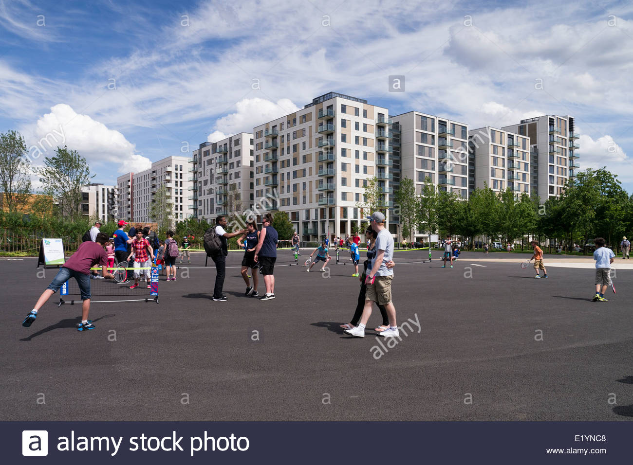 East Village - new homes and apartments on the former London 2012 Olympic Village site: Stratford, London. Stock Photo