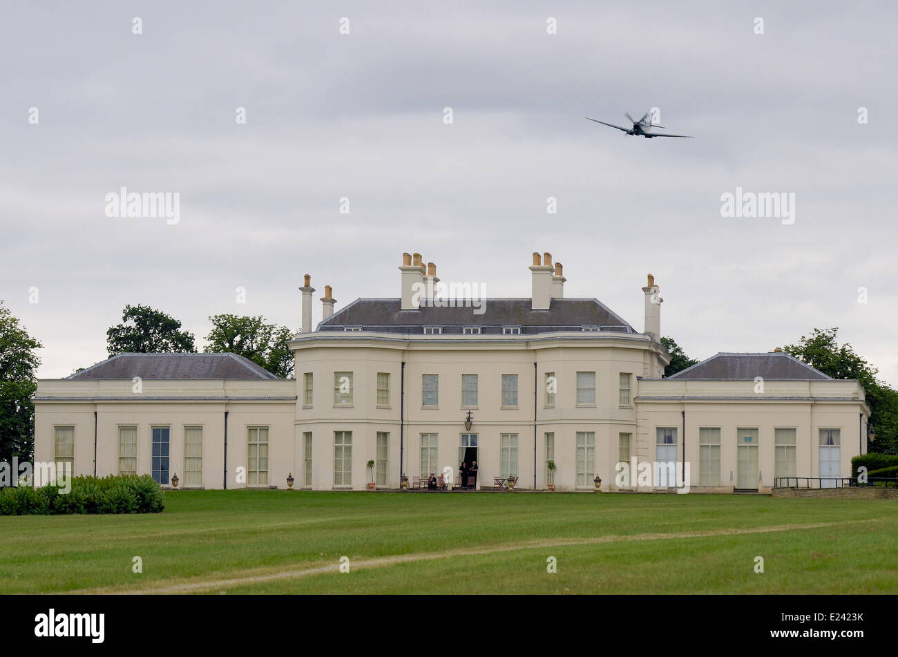 Spitfire flying at Boys Toys event at Hylands Park. Stock Photo