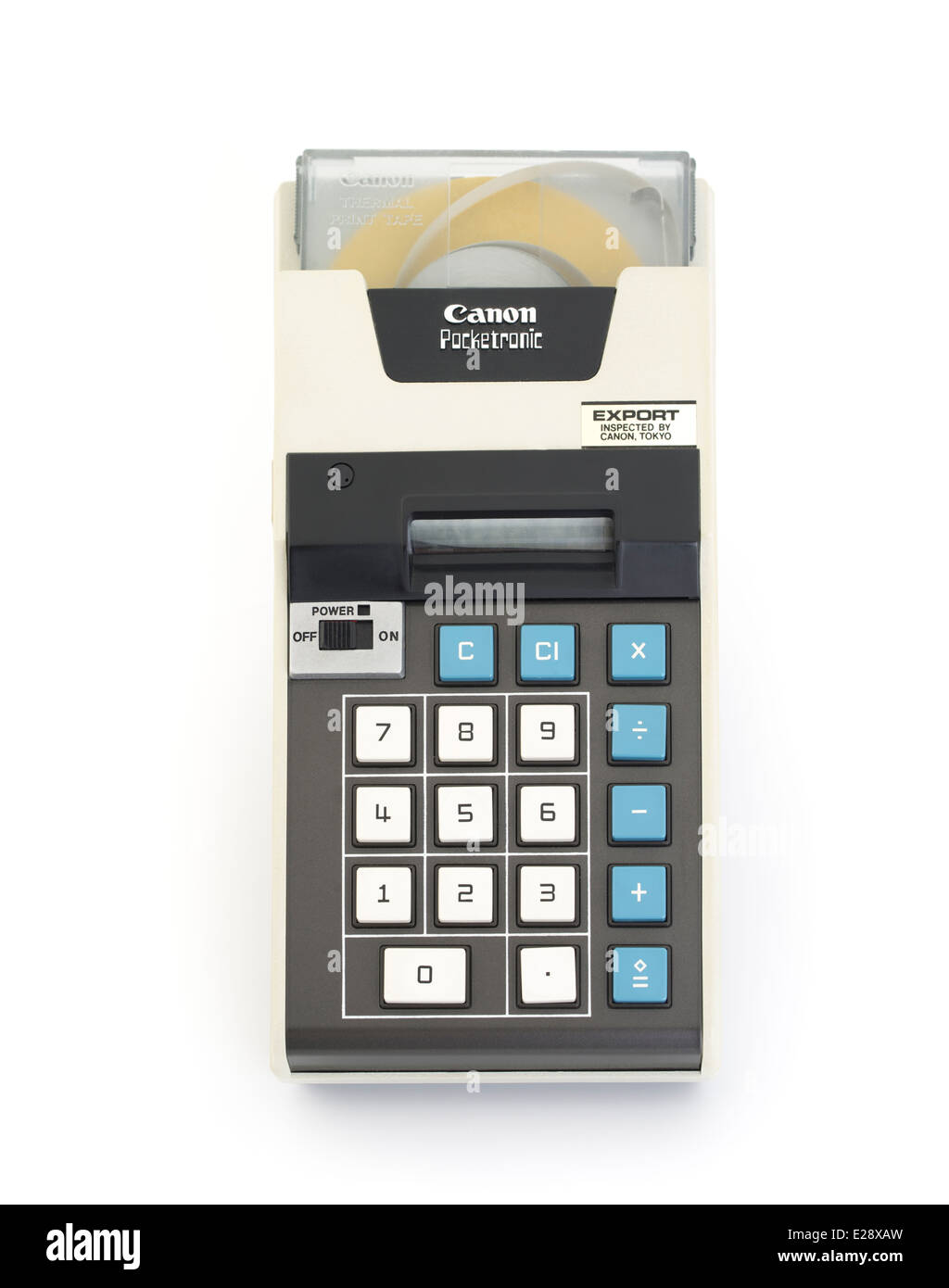 Canon Pocketronic one of the first pocket calculators with print out onto thermal paper tape. Japan 1970 Stock Photo