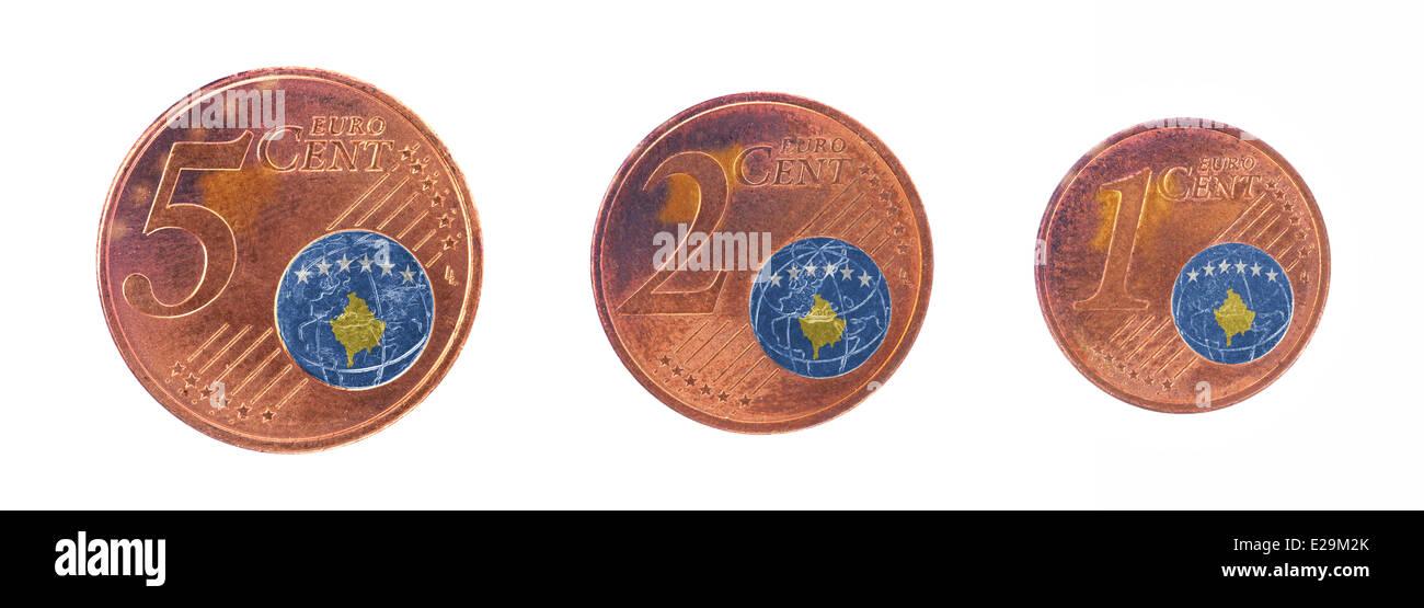 European Union Concept 1 2 And 5 Eurocent Flag Of Kosovo Stock