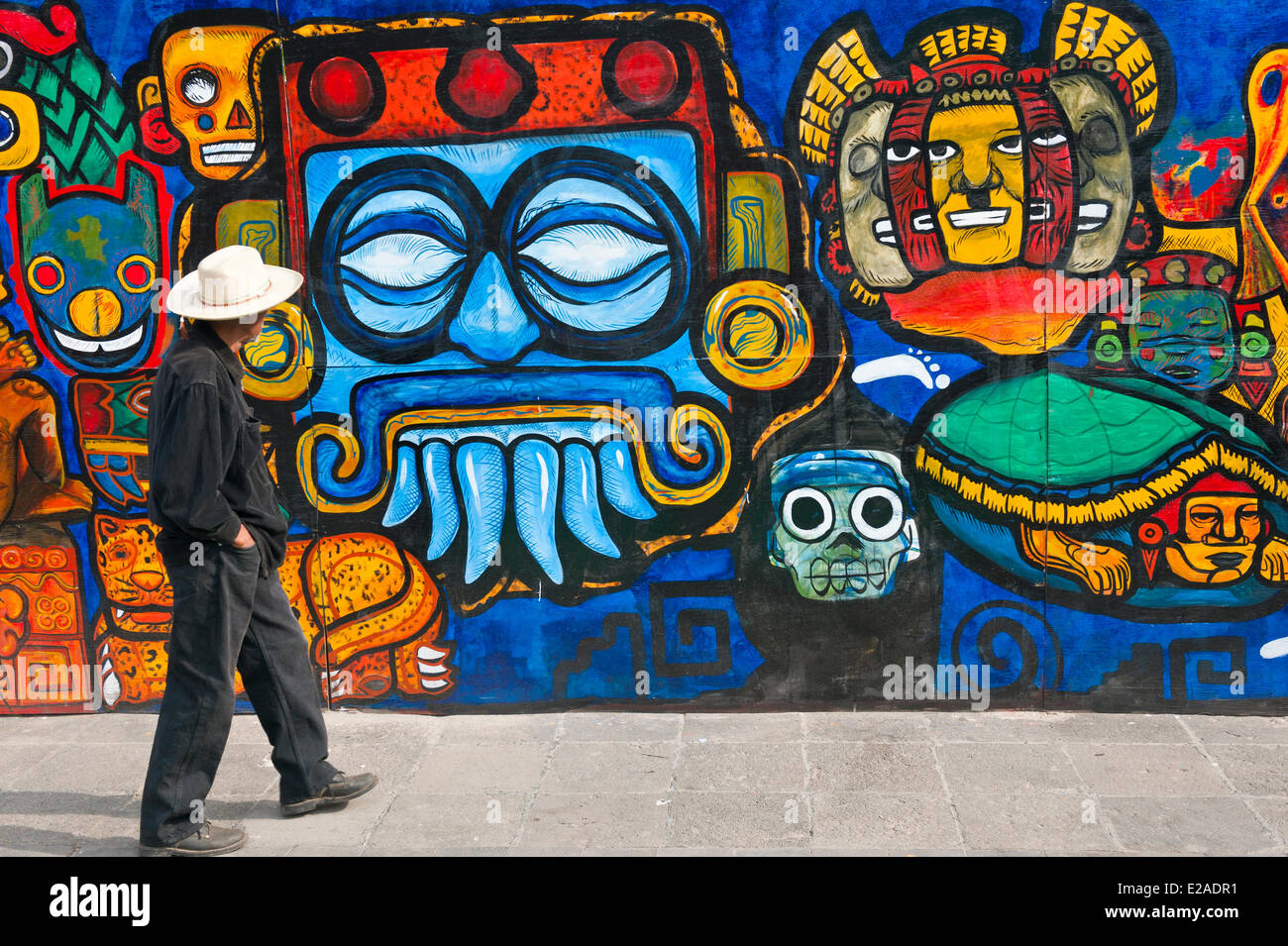Mexico, Federal District, Mexico city, mural in historical center listed as World Heritage by UNESCO - Stock Image