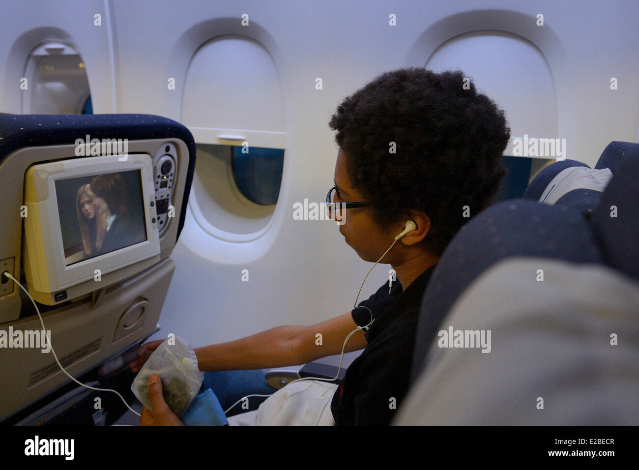 United States, passenger on board the Airbus A380 of Air France-KLM during flight New York-Paris - Stock Image