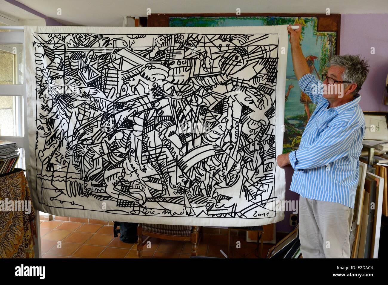 France Finistere Prat Ar Coum workshop of the painter Loic Madec - Stock Image