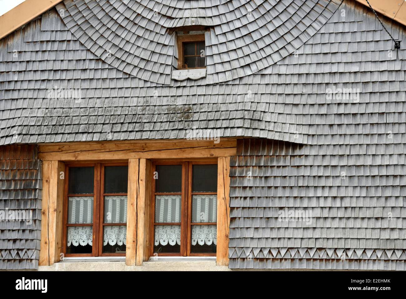 France, Jura, Bois D Amont, House With Gable Covered With Wooden Shingles,  Windows And Awning