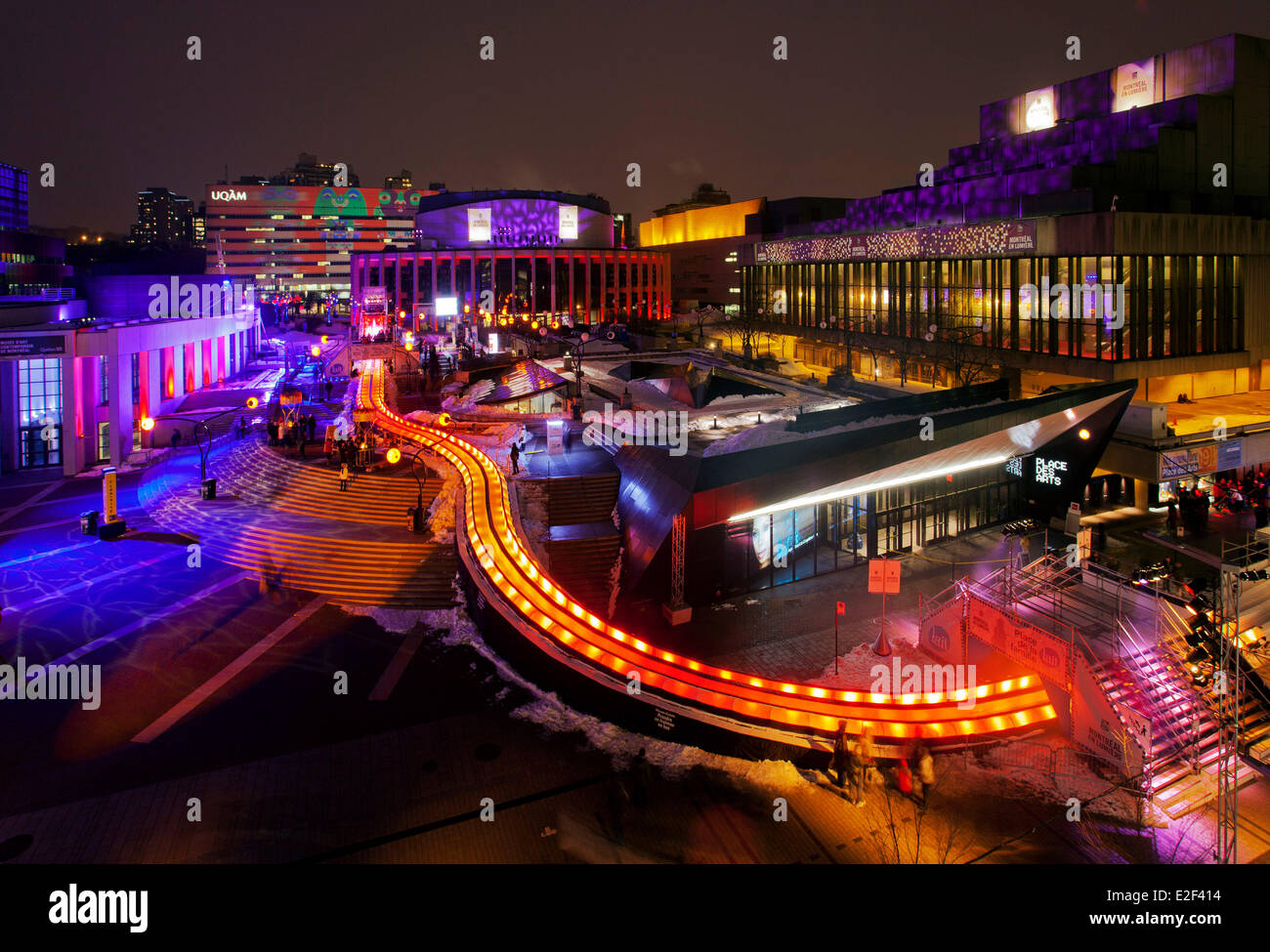 Canada, Quebec province, Montreal, Montreal en Lumiere festival, giant slide - Stock Image
