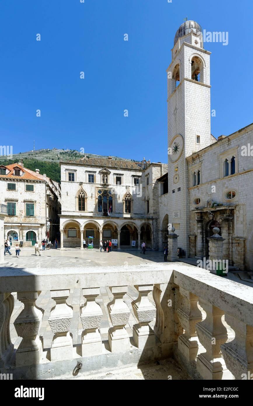 Croatia Dalmatia Dalmatian coast Dubrovnik historical centre listed as World Heritage by UNESCO Luza square with - Stock Image