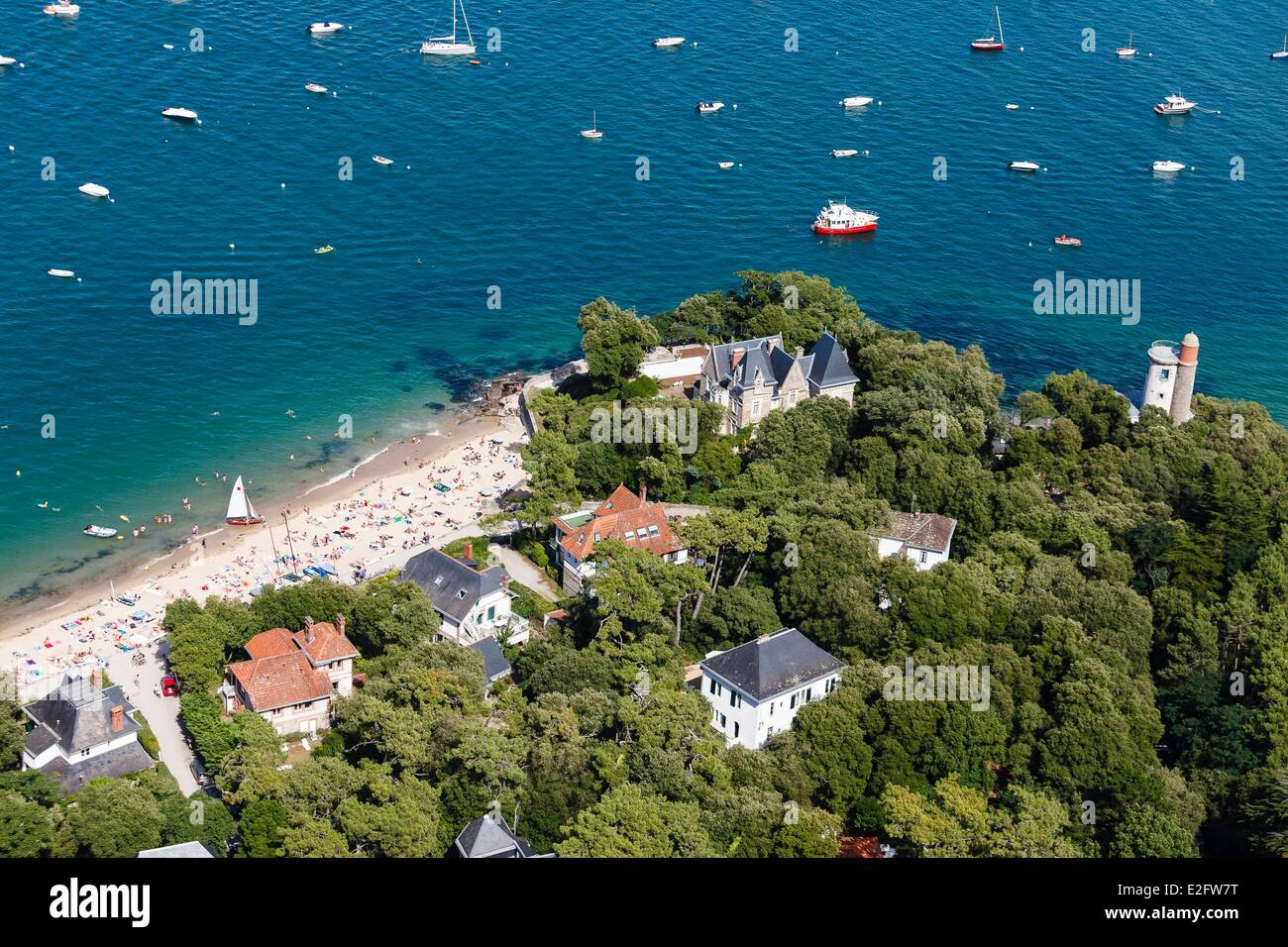 France Vendee Ile De Noirmoutier En LIle Le Bois La Chaise Souzeaux Beach And Plantier Tower Aerial View