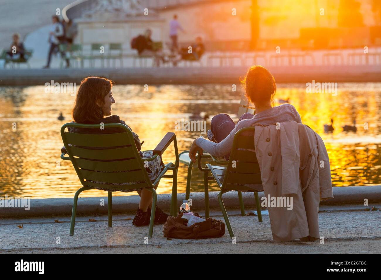 France Paris Jardin des Tuileries at Sunset - Stock Image