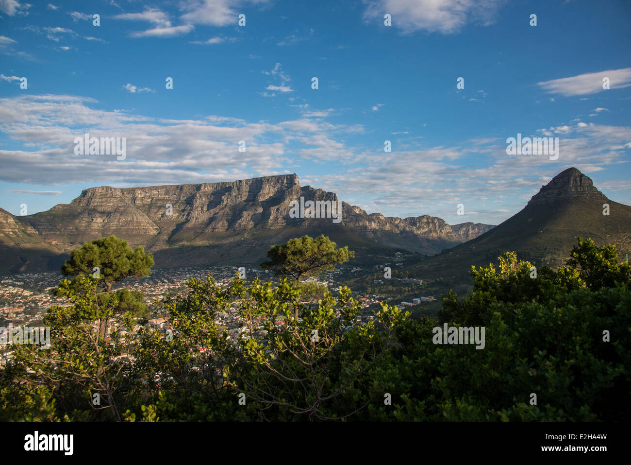 Table Mountain, from Signal Hill, Cape Town, Western Cape, South Africa - Stock Image