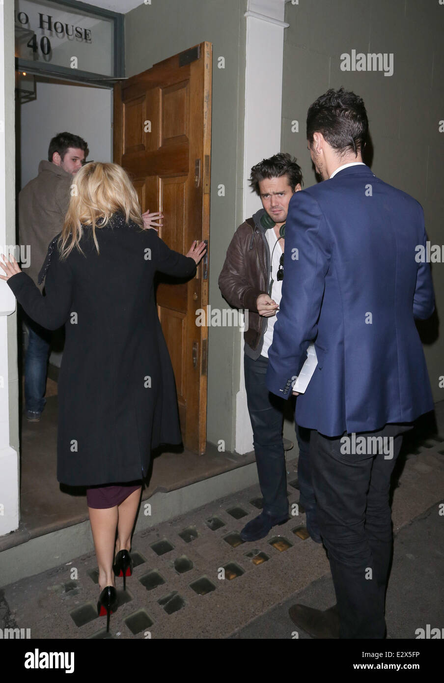 I'm A Celeb campmates, Ashley Roberts, Hugo Taylor with Made In Chelsea star, Spencer Matthews leaving Groucho - Stock Image