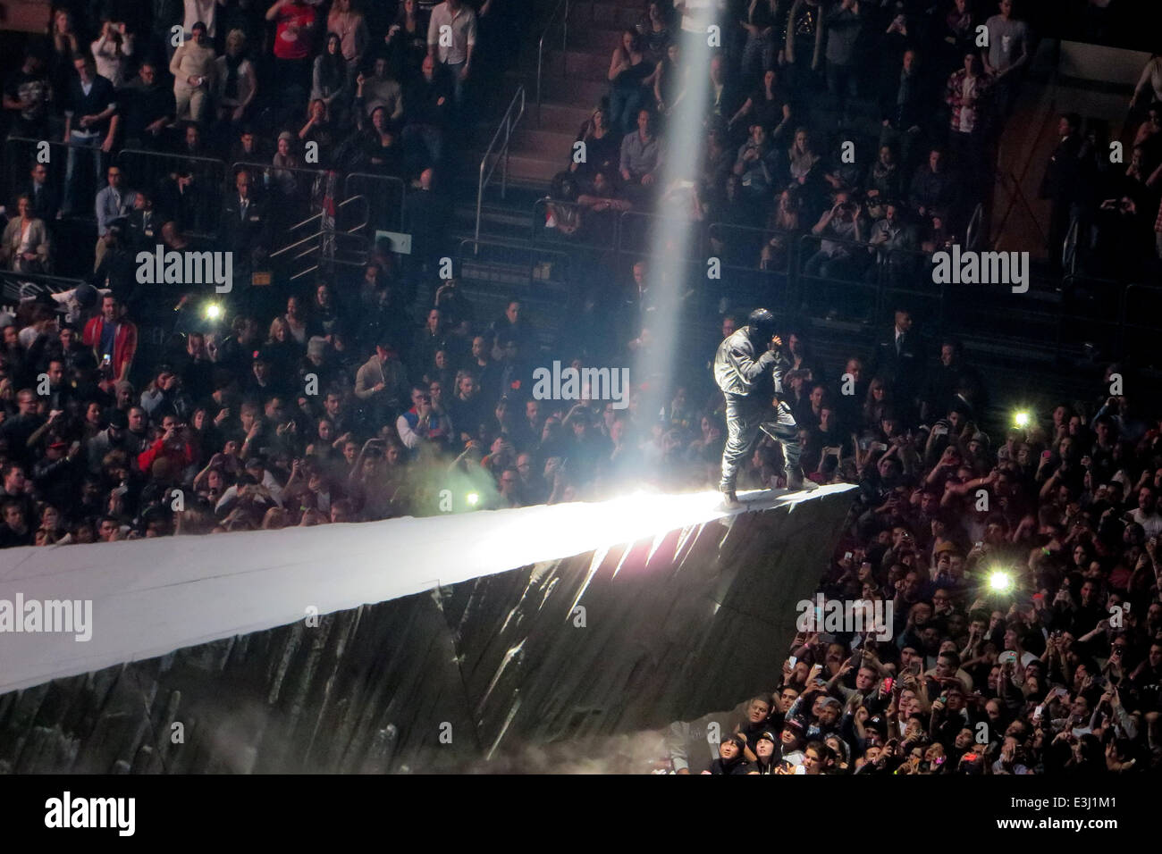 Kanye West Performs To A Sold Out Crowd At Madison Square Garden As Part Of  His U0027Yeezusu0027 Tour. The Eccentric Rapper Performed The Entire Concert  Wearing A ...