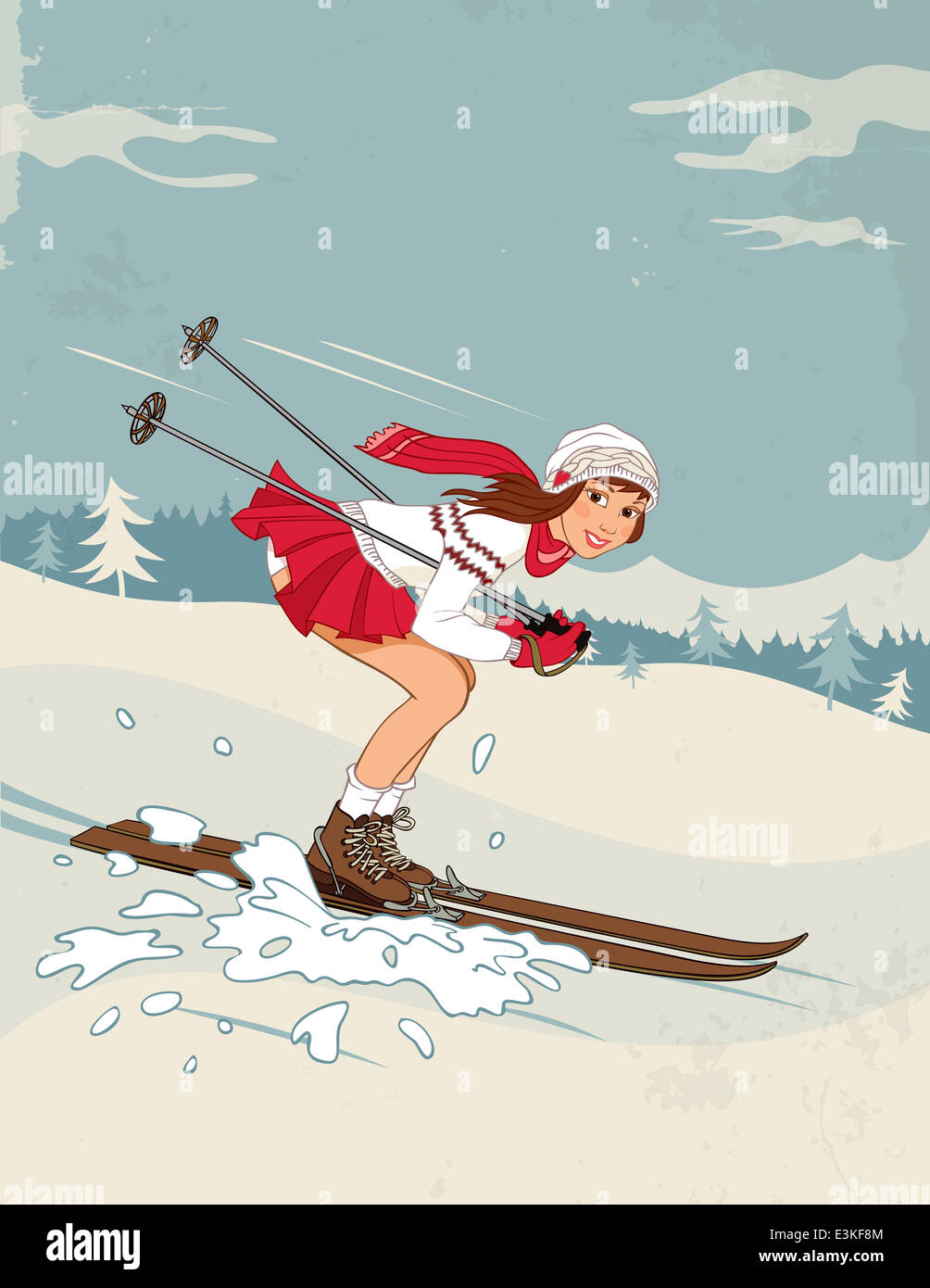 Winter sport poster in retro style with pin up girl stock photo winter sport poster in retro style with pin up girl thecheapjerseys Images