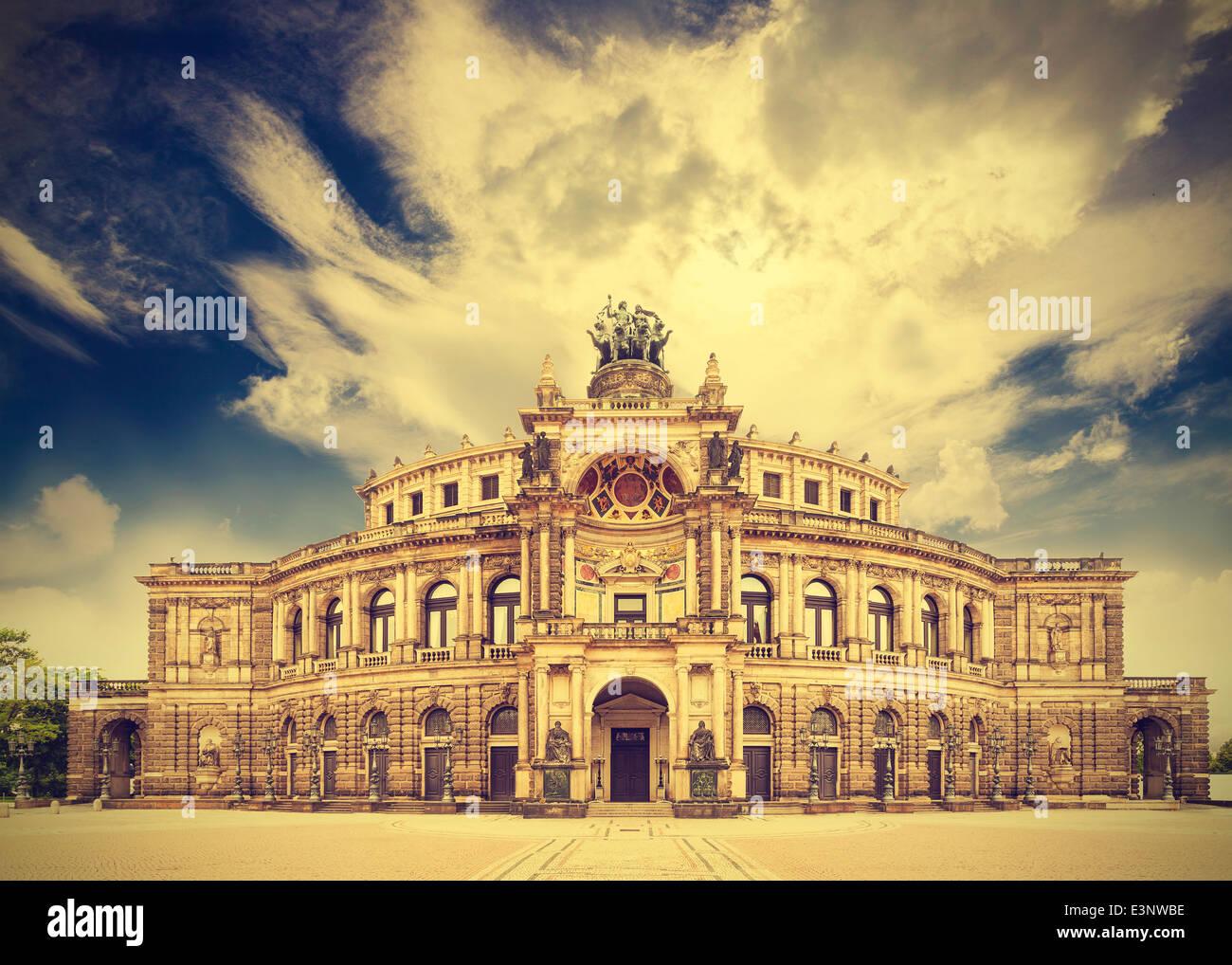 Dresden opera theater, Germany, retro vintage effect. - Stock Image