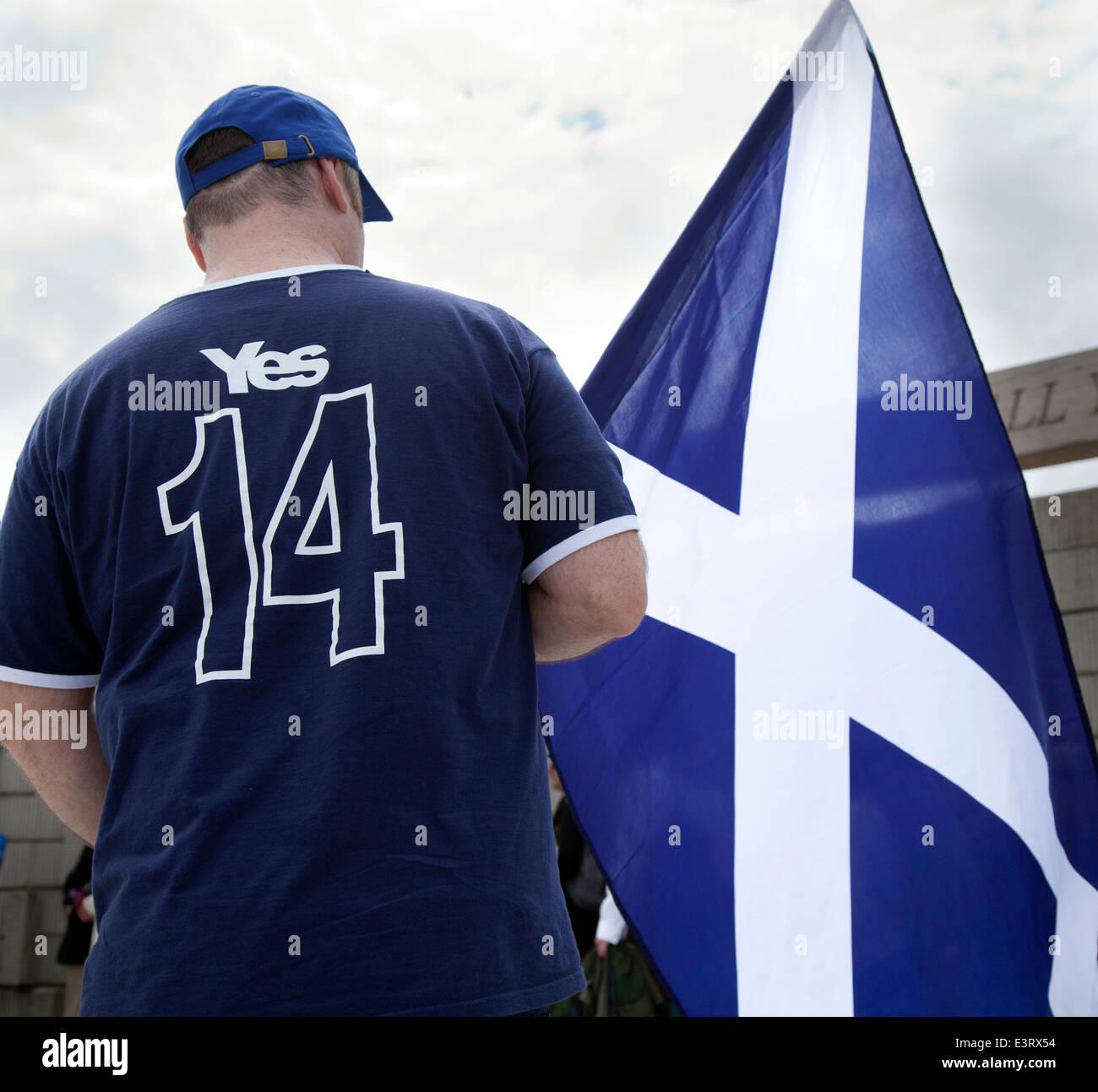 Stirling 28th June, 2014.  Scottish flag at the Battle of Bannockburn re-enactment. Thousands of people have turned - Stock Image