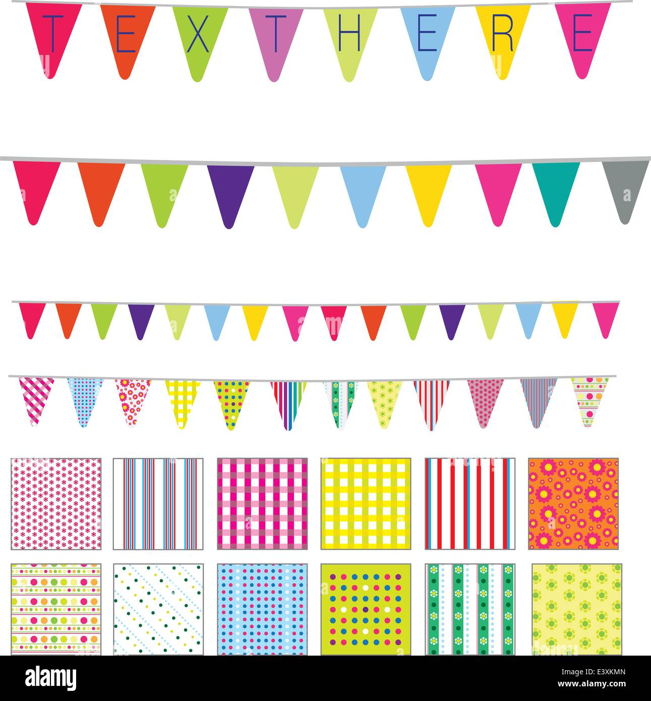 patterns and banners in a retro cute style, spots, stripes and flowers motifs Stock Vector