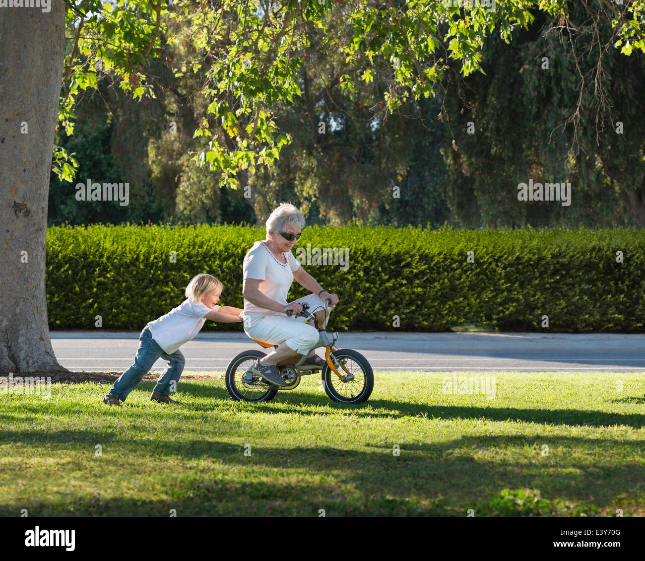 Three year old boy pushing grandmother on cycle in park - Stock Image