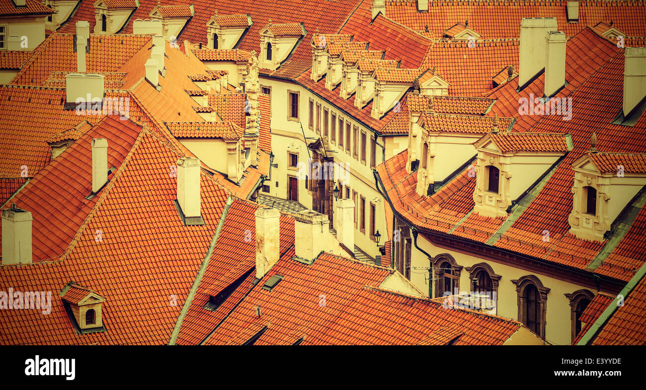 Roofs of Prague, vintage retro style. - Stock Image